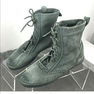 Keds Suede Moccasin Bootie Lace Up Gray Ankle Boot
